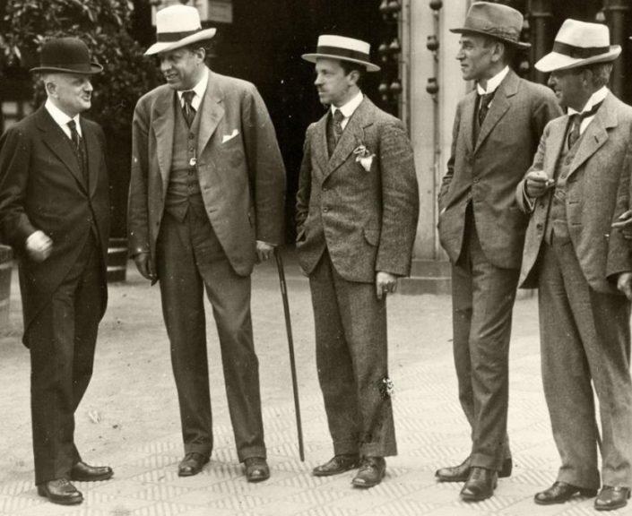From left: Jean Sibelius, Georg Høeberg, Erkki Melartin, Wilhelm Stenhammar and Carl Nielsen