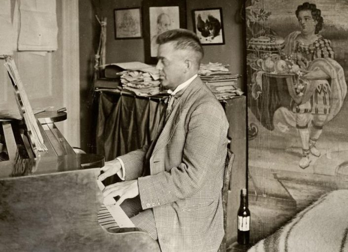 The Danish composer Carl Nielsen composing in his home