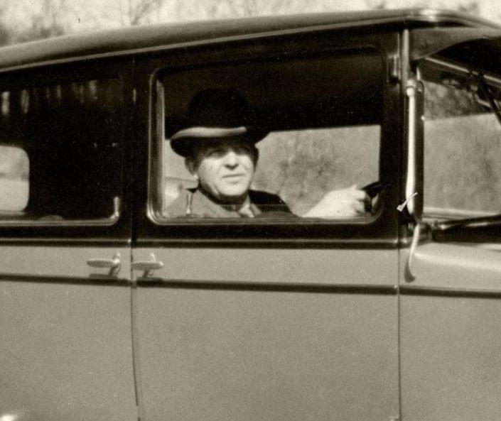 The Danish composer Carl Nielsen in his Morris car