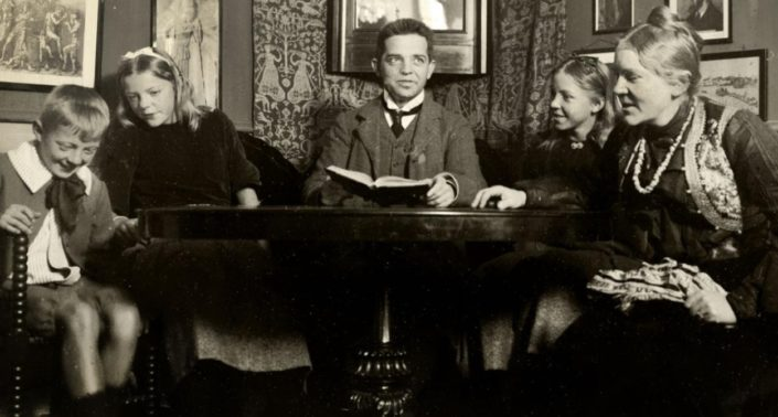 The Danish composer Carl Nielsen with his wife and children