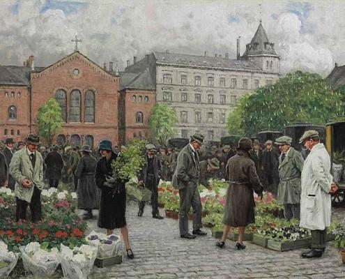 Paul Fischer. The Flower Market at Grønttorvet - now Israels Plads, Copenhagen