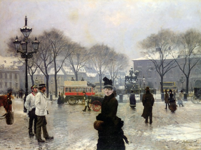 Paul Fischer. A Winters Day on Kongens Nytorv, Copenhagen