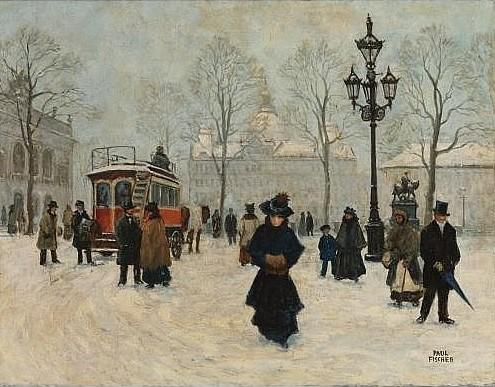 Paul Fischer. A winter stroll in Kongens Nytorv, Copenhagen