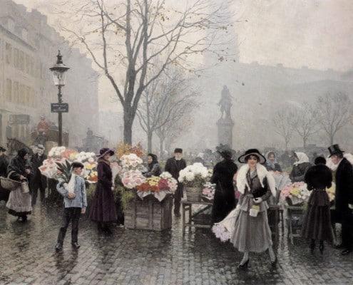 Paul Fischer. At the flower market in Højbro Plads, Copenhagen
