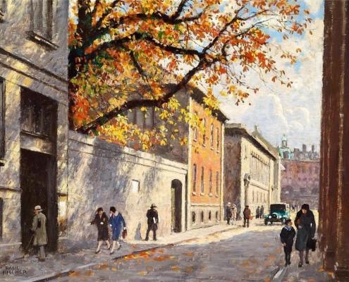 Paul Fischer. Autumn day in Fiolstræde, Copenhagen