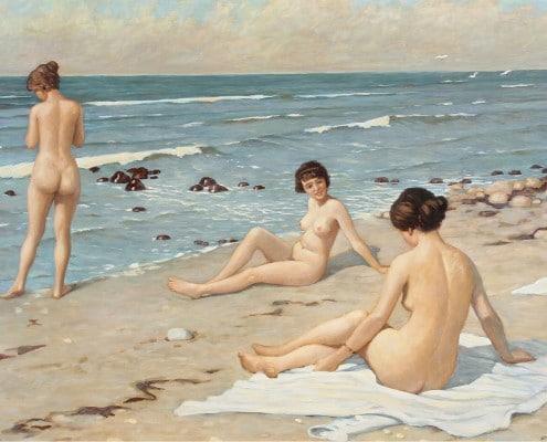 Paul Fischer. Beach with bathing women