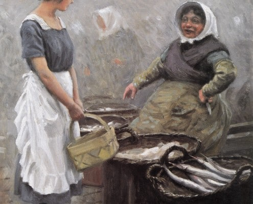 Paul Fischer. Fishing woman and serving girl at Gammel Strand