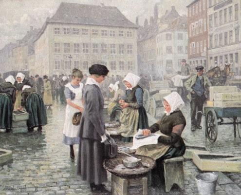 Paul Fischer. Fishing women at Gammel Strand, Copenhagen