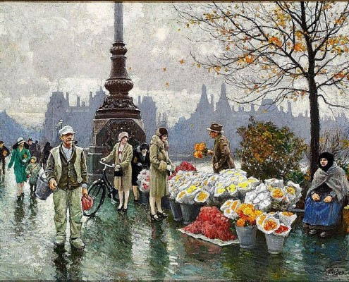 Paul Fischer. Flower sellers at Dronning Louises Bridge, Copenhagen