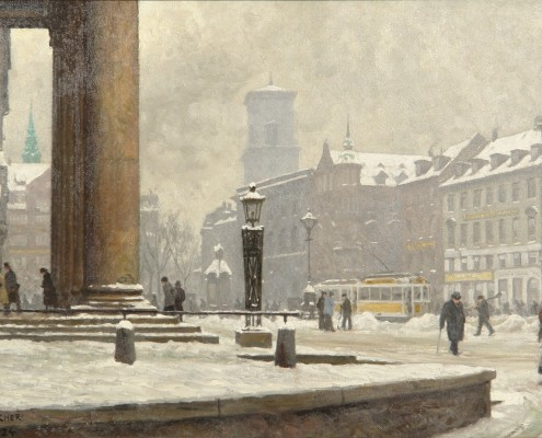 Paul Fischer. From Nytorv, people in front of the courthouse