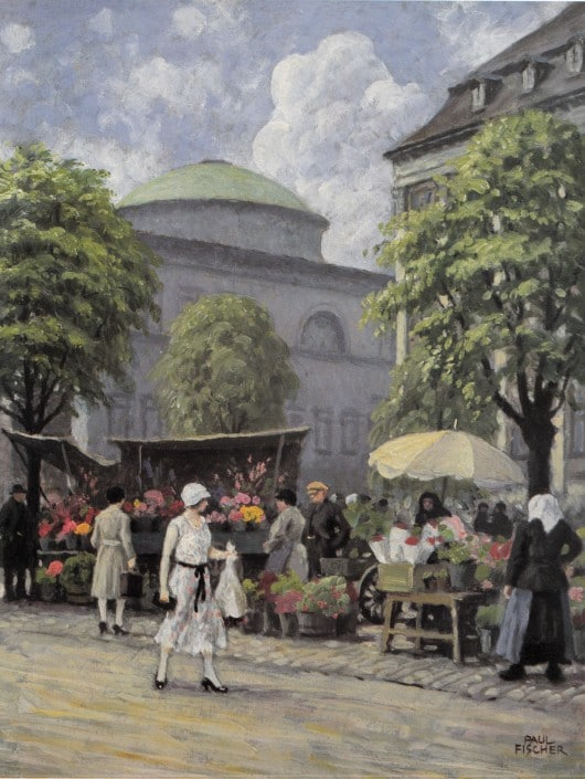 Paul Fischer. Girl buying flowers at Højbro Plads, Copenhgen
