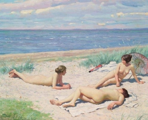 Paul Fischer. Nude bathers on the beach