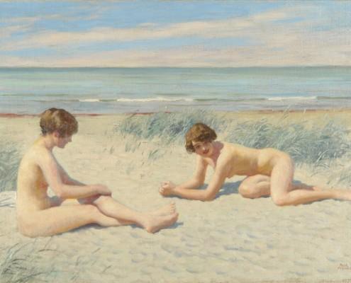 Paul Fischer. Sunbathing women at the beach