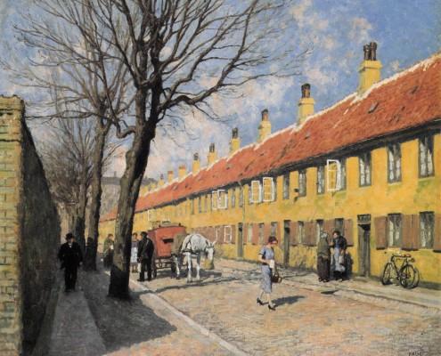 Paul Fischer. Spring in Nyboder (Haregade), Copenhagen