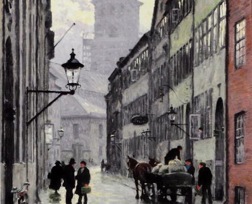 Paul Fischer. Store Kannikestræde, Copenhagen