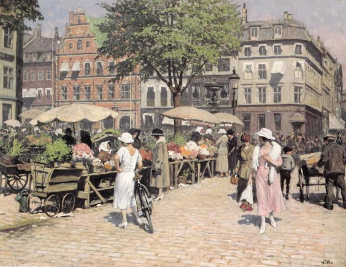 Paul Fischer. The Flower Market at Højbro Plads, Copenhagen