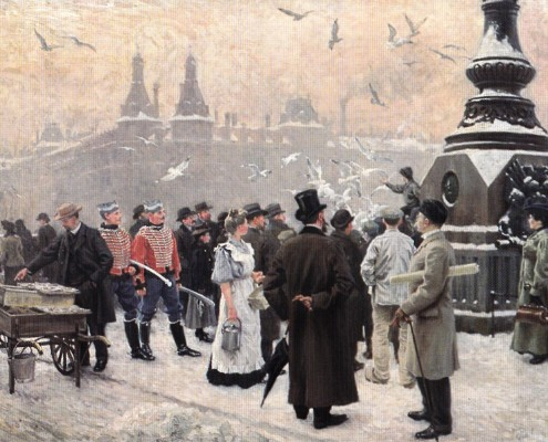 Paul Fischer. The Gulls are fed at Dronning Louise's Bridge