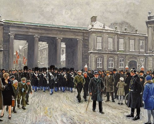 Paul Fischer. The King's Guards in Amalienborg Square, Copenhagen