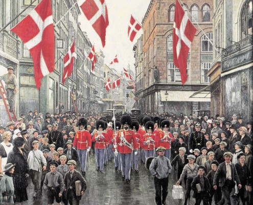 Paul Fischer. The King's Guards in Amalienborg Square, Copenhagen