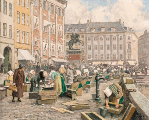 Paul Fischer. The fishing wives at Gammel Strand, Copenhagen