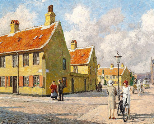 Paul Fischer. View of Nyboder with a carriage and a streetcar in Store Kongensgade, Copenhagen