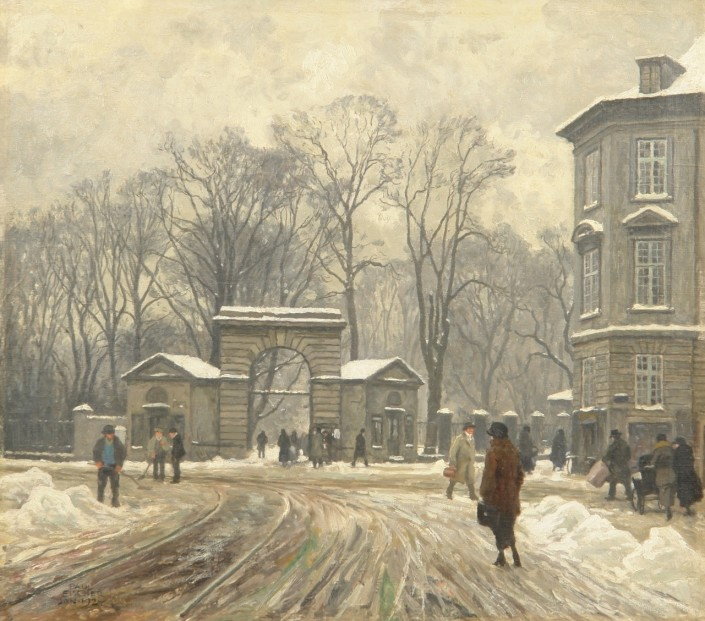 Paul Fischer. Winter. In front of the King's Garden through the gate at the corner of Gothersgade and Chr. IX's street