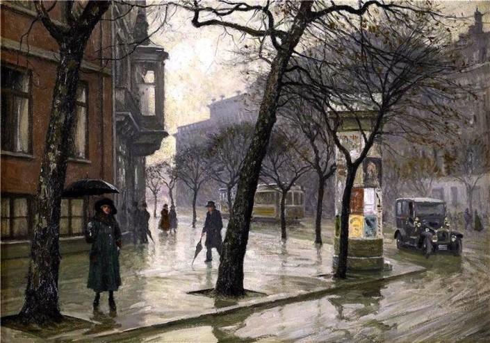 Poul Fischer. A rainy day at Holmens Kanal toward the Royal Theatre, Copenhagen
