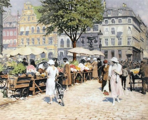 Poul Fischer. Højbro Plads and Amagertorv in summer, Copenhagen