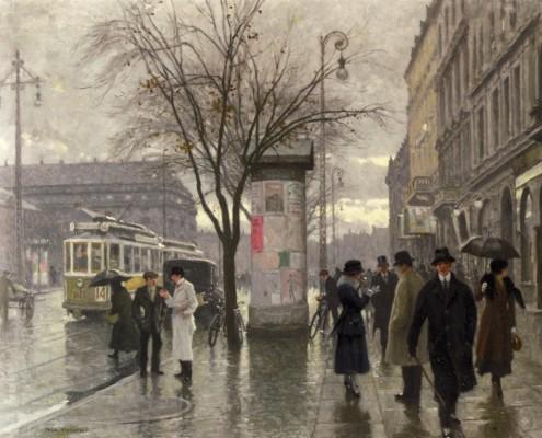 Poul Fischer. Rainy day in Vesterbrogade, Copenhagen