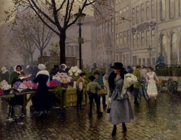 Poul Fischer. The Flower Market at Højbro Plads, Copenhagen