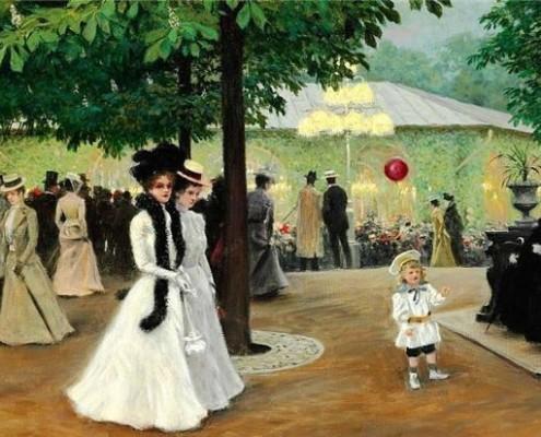 Poul Fischer. The red balloon. Summer evening in Tivoli, Copenhagen