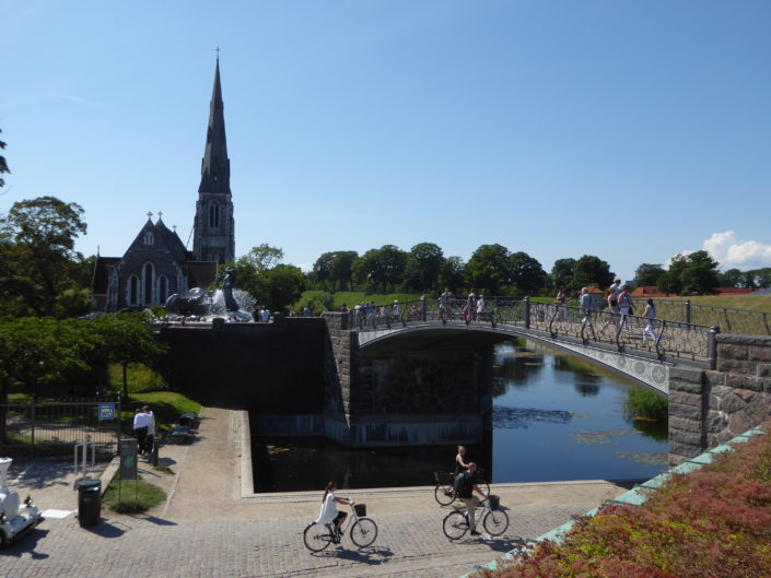 Gefion bridge with St. Alban's English Church and the Gefion fountain at Langelinie, Copenhagen, Denmark