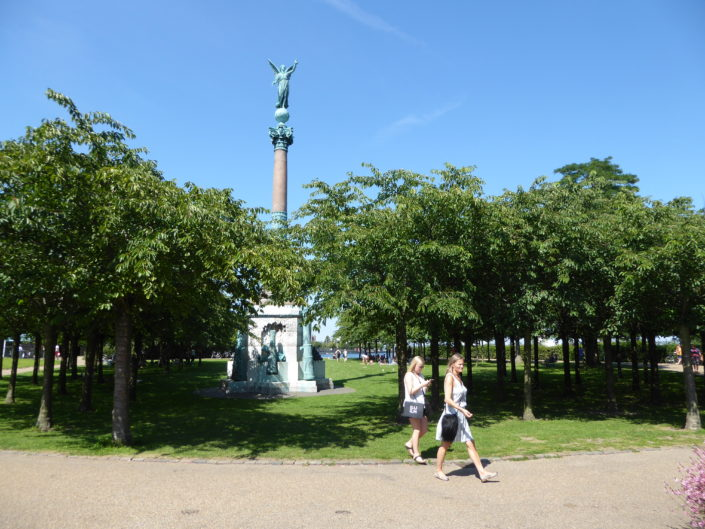The Huitfeldt column in the small park with Japanese cherry trees at Langelinie, Copenhagen, Denmark