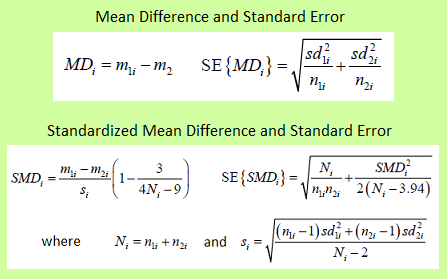 Effect measures (with standard error) for continuous data - one of these is selected and calculated for each study included in the meta-analysis