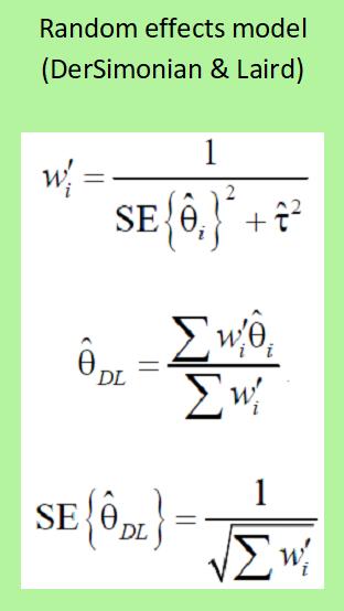 Meta-analysis - Random Effects Model (DerSimonian & Laird)