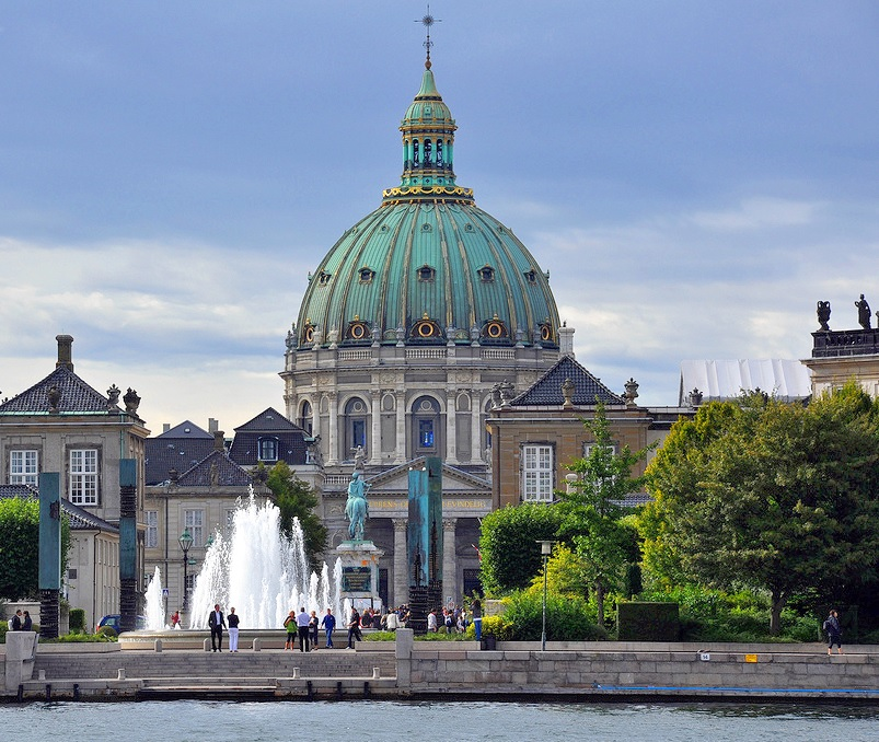Amaliehaven in Copenhagen seen from the water with the Marble Church in the background
