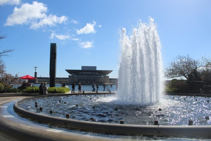 The fountain in Amaliehaven in Copenhagen with the Opera House in the background across the water