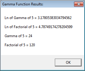 Results: gamma function of 5