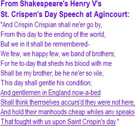 St. Crispen's Day Speech at Agincourt from Shakespeare's Henry V